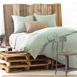 Pine Cone Hill - PCH Chambray Linen Ocean Duvet Cover - The Chambray Linen duvet cover from PCH makes it simple to create a contemporary, layered bedding ensemble. Pair the clean look and rich texture of this classic linen design with modern decor for ultimate style and comfort. Available in twin, full/queen and king sizes; 100% linen; Light ocean green; Knife edge; Hidden button closure; Insert not included; Designed by Pine Cone Hill, an Annie Selke company; Get this look with the PCH Classic Hemstitch sheet set in ivory, the PCH Chambray Linen in sable and the PCH Zen coverlet; Machine wash cold, tumble dry low; Do not bleach