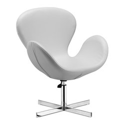 Cobble Swan Swivel Chair- White Leather - The Cobble Chair has a great retro-inspired design and a shape that enables total relaxation. This modern chair features a leatherette body complemented by a chromed steel frame for a sleek and elegant look. The Cobble Chair works great as both occasional seating at home, in the office, or even as a unique chair for your desk. It has a leatherette seat, a hydraulic piston with swivel and a chrome plated steel base.