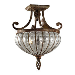 Uttermost - Galeana 2-Light Glass Semi Flushmount - Maybe you can't go to Venice, but it sure can come to you in this Venetian-inspired, mouthblown glass globe. Banded with iron that has bronze clay patinas to replicate age, this elegant light fixture would look stunning in your entryway, casting an alluring glow throughout the room. But don't stop there! It would look equally resplendent in a dressing room or master bath.