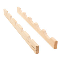 Hardware Resources - Wine Bottle Rack.  24 x 3/4 x 2 - Maple - Wine Bottle Rack.  24 x 3/4 x 2.  24 maximum width  stores 5 bottles.  Can be trimmed down to fit 18 spaces.  Species:  Maple.  Includes rear rail  front rail  adhesive strip.