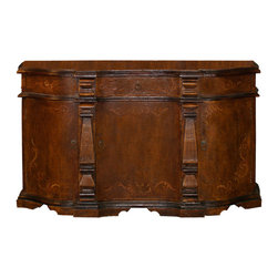 Koenig Collection - Old World Sideboard Meghan, Fresco Brown Torched With Scrolls - Old World Sideboard Meghan, Fresco Brown Torched with Scrolls