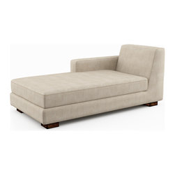 Viesso - Brenem Chaise Left (Custom) - The Brenem Chaise Left is a great option on its own, or as part of a custom Brenem sectional. The timeless style will look great years from now. And with the classic and clean look, it works really well with a variety of styles in your room. Depending on the fabric and legs you choose for the custom sectional, you can really make this piece your own. The built-in back offers a specific look, but you can also add accent pillows for more softness and other colors. This chaise is made in Los Angeles, ensuring a high quality product and plenty of attention to detail.