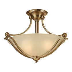 Hinkley Lighting - Hinkley Lighting 4651BR Bolla Transitional Semi Flush Mount Ceiling Light - The graceful lines of Bollas sweeping double arms create a soft elegance  while heavy cast spheres perched at the tips add to its innovative style. The strong proportions of the arms  offered in either Brushed Nickel  Olde Bronze or Brushed Bronze finishe