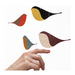 Snug.Songbirds Wooden Mobile by Snug.Studio - The colors and design of the birds on this mobile are reminiscent of midcentury design and evoke a sense of the Arts and Crafts era.