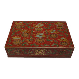 Golden Lotus - Chinese Red Handpainted 8 Treasure Accent Box - This is a hand made paper box with precise hand drawing colorful graphic on a Chinese red base.