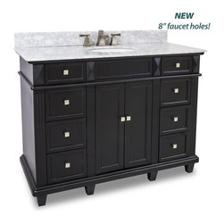 Hardware Resources - Douglas Black Vanity with Preassembled Top and Bowl by Bath - This 48 inch wide MDF vanity features a sleek black finish  clean lines and tapered feet to give a modern feel.  A large cabinet with two banks of fully functional drawers provide ample storage.   This vanity has a 2CM white marble top preassembled with an H8809WH (15 x 12) bowl  cut for 8 faucet spread  and corresponding 2CM x 4 tall backsplash.