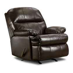 Simmons - Simmons Riverside Bonded Leather Oversized Rocker Recliner - 702-VINTAGE - Shop for Recliners from Hayneedle.com! A classic design and luxurious leather make the Simmons Riverside Bonded Leather Oversized Rocker Recliner perfect for your space. A distinctive recliner this one features a pub back with pinch for detail heavily padded arms and an angle-cut fully-padded chaise. It rocks smoothly reclines easily and is upholstered in bonded dark brown leather.About United Furniture IndustriesUnited Furniture Industries emerged in 2000 from a merger and acquisition of Comfort Furniture Parkhill Furniture and United Chair. Their mission was to create a company with the vision and resources needed to be an industry leader. By 2008 United Furniture Industries had done just that by receiving an exclusive licensing agreement with Simmons Upholstery a leading resource for microfiber and bonded leather upholstery fabric models. United Furniture Industries has production facilities around the United States. They offer an extensive affordable line of trend-setting furniture that includes microfiber bonded leather and upholstery fabric furniture sofas sectionals chaise lounges recliners motion sofas and Hide-A-Bed sleepers.