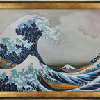 """overstockArt.com - Hokusai - The Great Wave off Kanagawa - 24"""" X 36"""" Oil Painting On Canvas The Great Wave off Kanagawa is a beautiful hand oil reproduction in japanese ukiyo-e style by the famous Katsushika Hokusai. Katsushika Hokusai (1760 - 1849) was a Japanese artist, ukiyo-e painter and printmaker of the Edo period. He was influenced by such painters as Sesshu, and other styles of Chinese painting. Born in Edo (now Tokyo), Hokusai is best known as author of the woodblock print series Thirty-six Views of Mount Fuji created both as a response to a domestic travel boom and as part of a personal obsession with Mount Fuji. It was this series, specifically The Great Wave off Kanagawa print and Fuji in Clear Weather , that secured Hokusai's fame both in Japan and overseas."""