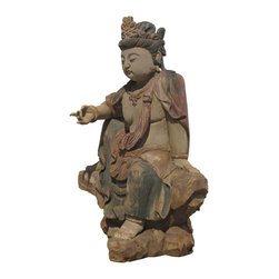 Golden Lotus - Sitting Peaceful KwanYin Chinese Antique Wooden Carving Statue - This is a Chinese antique  wooden sitting KwanYin statue which is made of solid elm wood.  It is perfect to put at your entrance of hall way.  Especially, its right hand is removable.