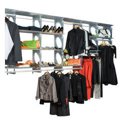 KiO - KIO Deluxe 8' Closet System, Frost - KiO's Closet in a Box is the organizer's favorite shelving system for easy to install, incredible strength and revolutionary design. The KiO kit requires no cutting tools, includes adjustable hanging rods and can be installed in as little as 20 minutes. Add extra shelves to your kit with the purchase of KiO 2-pack Shelf Bundle.