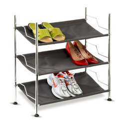 Honey Can Do - 3-Shelf Chrome Frame Canvas Shoe Rack in Char - Holds up to nine pair of shoes. Contemporary design. Lifetime limited warranty. Made from steel and canvas. White finish. Assembly required. 23.24 in. W x 11.25 in. D x 24.25 in. H (3.11 lbs.)This 3-tiered shoe rack is perfect for hallways, bedrooms, and closets. Sturdy, canvas fabric shelves protect your shoe collection from scuffs and scrapes while the unique design displays them with style.