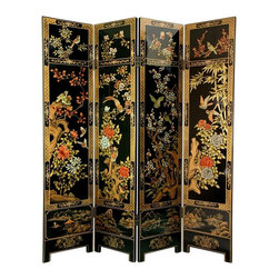 Oriental Unlimted - 6 ft. Tall 4-Panel 4 Seasons Flowers Floor Sc - Screens may vary slightly in color. Stunning 12 coat Black lacquer finish. Delightful traditional 4 season's art motif. Stunning collectible hand painted design and no 2 exactly the same. Hand painted lovely Oriental art motif. Wood is carefully kiln dried and sturdily crafted with classic Asian joinery. Each panel: 16 in. W x 1 in. D x 72 in. H (48.5 lbs.)