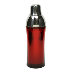 None visible - Consigned Stainless Steel and Red Plastic Cobbler Cocktail Shaker - Classical yet stylish cobbler cocktail shaker in stainless steel encased in a red plastic body on a rubber base, vintage English. Ideal for a fancy cocktail party.This is a vintage One of a Kind item. Some wear and imperfections are to be expected, as described.