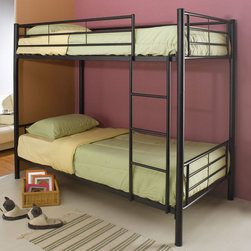 Coaster - 460072B Twin/Twin Bunk Bed - Black - This lovely contemporary bunk bed will be a nice addition to the youth bedroom or spare bedroom in your home. Make the most of your space with this silver sleek bunk, featuring round metal tube construction. Side guard rails will keep your child safe as they sleep on the top bunk, and an attached ladder makes it easy to get up and down.