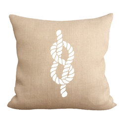 Fiber and Water - Figure 8 Knot Pillow - An illustration of the popular figure 8 knot. A great nautical print for your home! Hand-pressed onto natural burlap using water-based inks.