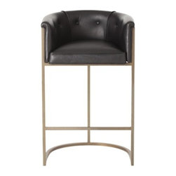 Calvin Bar Stool in Black Leather by Arteriors Home - This transitional, box style bar stool, with low curved back, is supported by a steel frame with antique brass finish and tufted leather seat.