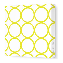 """Avalisa - Pattern - Circles Stretched Wall Art, 28"""" x 28"""", Yellow - Sleek, clean, uncomplicated — if that's your style, this is your art statement. The circles motif on unframed stretched fabric is pure and simply you!"""