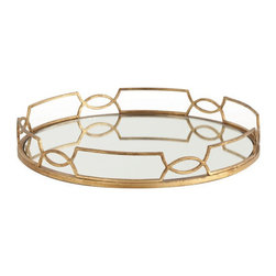 """Arteriors - Arteriors Home - Cinchwaist Gold Iron with Mirror Tray - 3115 - Arteriors Home - Cinchwaist Gold Iron with Mirror Tray - 3115 Features: Cinchwaist Collection Tray Gold leaf finishIron and mirror Some Assembly Required. Dimensions: 21.5"""" W X 3.5"""" H"""
