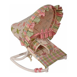 Hoohobbers - Hoohobbers Baby Rocker - Ballerina Multicolor - 271-71 - Shop for Baby Bouncers and Jumpers from Hayneedle.com! Little girls will love the design of the Hoohobbers Baby Rocker - Ballerina. The baby rocker's frame is made from virtually indestructible solid polypropylene with a full hood made from removable fabric in an adorable ballerina-themed print. The pink-and-green multi-checked rocker swings gently from front to back and you can adjust the range of the rocker's movement as desired by rotating the stabilizing feet. This rocker is water-resistant since there are no metal parts so it's great for days spent outdoors. The removable toy bar will divert your child with its pink spinning characters. The Hoohobbers Baby Rocker - Ballerina folds up to a slim 5 inches for easy portability and it's simple to assemble with the snap-together pieces. All fabric is machine-washable. Includes 1-year warranty. Weight capacity: 25 pounds. Sling dimensions: 14W x 24D inches.About HoohobbersBased in Chicago Hoohobbers has designed and manufactured its own line of products since 1981 beginning with the now-classic junior director's chair. Hoohobbers makes both hard goods (furniture) and soft goods. Hoohobbers' hard goods are not your typical furniture products; they fold are lightweight and portable and are made to be carried by children all around the house. Even outdoors Hoohobbers' hard goods are 100 percent water-safe. At the same time they are plenty durable and can take the abuse children often give. Hoohobbers' soft goods are fabric items ranging from bibs to bedding from art smocks to Moses baskets.Hoohobbers' products are recognized by independent third parties for their quality and performance. Hoohobbers has received Best Design Awards from America's Juvenile Products Association each time selected from more than 20 000 products. Hoohobbers has also received the Parents' Choice Award and no Hoohobbers product has ever been subject to consumer recall. Furthermore the company's products are often featured in leading women's and children's publications.