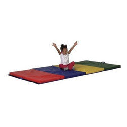 ECR4KIDS 4 x 6 Foot Tumbling Mat - This 4 x 6-Foot Tumbling Mat is heavy duty to encourage your aspiring gymnast to tumble jump or roll head over heels. Little wrestlers would feel right at home grappling on this mat. While most professional mats are 1.5 inches thick this mat's 2-inch-thick polyurethane foam inside offers a soft landing every time. Increase the play area by attaching additional mats using the loop-lock strips on the sides of the mat. Each mat has four sections of different colors (red blue yellow and green) and it folds to store. There is an easy-carry handle attached for added convenience and the rugged vinyl cover is durable and easy to clean. Dimensions: 72L x 48W x 2H inches. About Early Childhood ResourcesEarly Childhood Resources is a wholesale manufacturer of early childhood and educational products. It is committed to developing and distributing only the highest-quality products ensuring that these products represent the maximum value in the marketplace. Combining its responsibility to the community and its desire to be environmentally conscious Early Childhood Resources has eliminated almost all of its cardboard waste by implementing commercial Cardboard Shredding equipment in its facilities. You can be assured of maximum value with Early Childhood Resources.