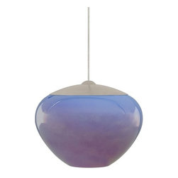 LBL Lighting - LBL Lighting Cylia Blue 50W Monopoint 1 Light Track Pendant - LBL Lighting Cylia Blue 50W Monopoint 1 Light Track PendantShimmering with an iridescent finish, this beautiful pendant features modern-shaped Blue glass. Lit from within by a 50 watt xenon bulb, this charming fixture will add ample style to any locale.Each Monopoint lighting fixture includes a single-point canopy with built-in transformer right out of the box for a quick and easy installation.LBL Lighting Cylia Blue 50W Monopoint Features: