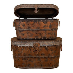 Aspire - Rustic Brown Wood Trunks - Set of 2 - This set of two vintage style storage trunks will add a time worn classic touch to your decor. The trunks are constructed from wood and feature metal rims and accents. The studded lining and fleur de lis handle accents enhance the charm of the set. However, the most dramatic feature is the distressed copper rust finish that adds an aged look. Wood and metal. Color/Finish: Distressed copper rust. 19 in. H x 36 in. W x 17 in. D. 17 in. H x 31 in. W x 14 in. D. Weight: 29 lbs.