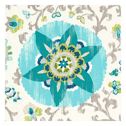 Aqua Suzani Indoor Outdoor Fabric - Eclectic blue & aqua outdoor print where suzani meets sunshine.Recover your chair. Upholster a wall. Create a framed piece of art. Sew your own home accent. Whatever your decorating project, Loom's gorgeous, designer fabrics by the yard are up to the challenge!