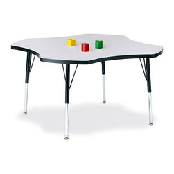 Jonti-Craft - Ridgeline KYDZ Four Leaf Shaped Activity Table (15 - 24 in. H - Red) - Color: 15 - 24 in. H - Red.