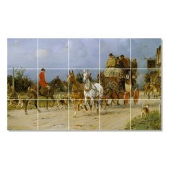 Picture-Tiles, LLC - Outside The Kings Head Tile Mural By George Wright - * MURAL SIZE: 24x40 inch tile mural using (15) 8x8 ceramic tiles-satin finish.
