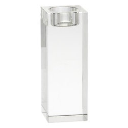 Oslo Large Candleholder - Cubist candlelight in brilliant lead crystal with polished, beveled edges. Modern architectural candleholder stands strong alone or clusters beautifully.
