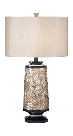 """Kathy Ireland - Contemporary Kathy Ireland Marrakesh Garden Table Lamp - Add style with this elegant table lamp from the Kathy Ireland lighting collection. The design features a leaf and vine pattern. The base comes in a softly silvered finish and has wood tone accents. Shade is in a Bavaria Grey fabric. Takes one 150 watt bulb (not included). 32 1/4"""" high. Shade is 18"""" across the top and bottom 11"""" high.  Softly silvered finish.  Leaf and vine pattern.  Bavaria Grey fabric shade.  By Kathy Ireland table lamps.  Takes one 150 watt bulb (not included).   32 1/4"""" high.   Shade is 18"""" across the top and bottom 11"""" high."""