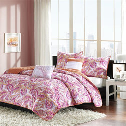 Intelligent Design - Intelligent Design Anila Coverlet Set - Anila�۪s pink paisley print instantly updates the look of your bedroom. The different shades of pink with subtle splashes of white create a good balance in color. The reverse is a soft orange adding another pop of color to this coverlet. Made from polyester this coverlet is machine washable for easy care. Includes two decorative pillows with embroidery. Coverlet/Sham: 100% polyester peach skin printed fabric face,micro fiber solid reverse Filling: 200g cotton Pillow: polyester cover and polyester filling