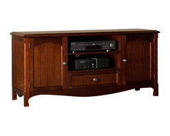 Southern Enterprises - Everett TV-Media Stand - Add a little elegance to your family room, and organize it too! The warm, espresso finish and beautiful, simple design make this piece a must have for any home. This TV/media stand features two large, open areas for electronic and media equipment. It also features cabinets on either side for storage of movies, games, or anything that should be enjoyed rather than seen. in addition, the storage options include a wide drawer that is perfect for remotes or gaming accessories. This media stand is designed with a subtle, country style and a gorgeous, espresso finish that will compliment an array of furniture and fabrics. This media stand is perfect for both traditional and transitional homes.