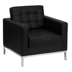 Flash Furniture - Flash Furniture Hercules Lacey Series Contemporary Black Leather Chair - This attractive black leather reception chair will complete your upscale reception area. The design of this chair allows it to adapt in a multitude of environments with its button tufted cushions and stainless steel frame. [Z-BLACEY-831-2-CHAIR-BK-GG]