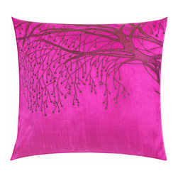Vintage Maya - In Bloom Pink Embroidered Pillow Cover - Spring is in the air. Celebrate the season of nature's rebirth with this magnificent pillow cover depicting a budding tree against a brightly colored background.
