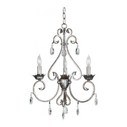 Kenroy Home - Kenroy Home Antoinette 3-Light Chandelier Weathered Silver Finish - 91343WS - Like vintage jewelry, this grouping in a weathered silver finish and cut glass accents will put your exquisite taste on display. Delicate curves, with a French design influence, let Antoinette hang with a sumptuous aristocratic air.