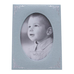 WOLF - Vintage Baby Photo Frame, Blue - A distinctive, timeless look for your desk or mantlepiece. This baby photo frame is beautifully constructed in a matte blue pebbled faux leather, accented with silver stamped foil ornamentation.