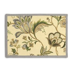 Tan Jacobean Floral Custom Placemat Set - Class up your table's act with a set of Tailored Placemats finished with a contemporary contrast border. So pretty you'll want to leave them out well beyond dinner time! We love it in this sophisticated Jacobean floral in soft neutral beiges and grays. Perfect for the new traditionalist.