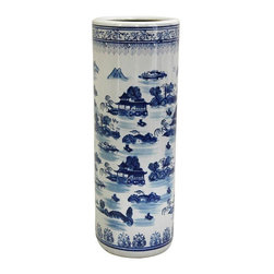 "Oriental Furniture - 24"" Landscape Blue and White Porcelain Umbrella Stand - Cylindrical umbrella stand in traditional Chinese blue and white export porcelain colors. Classic landscape design with mountain and pagoda detail. Made of strong vitreous porcelain. Great water proof storage for umbrellas, canes, and walking sticks. Alternatively use as a floor vase for dry plant or lucky bamboo displays."