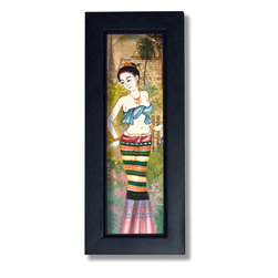 Oriental-Decor - Maiden in a Blue Sash Thai Framed Painting - This inspirational Thai framed painting will make a lovely prop on your wall and add color and culture to any area. A Thai woman wearing a blue sash and colorful dress is the theme of this fantastic art piece from Thailand. She coyly looks off to her right while holding one hand on her hip, giving her a poised and feminine gait. In the background stands a palm tree, Buddhist temple, flowers and spire. The multitude of colors in this hand-painted work provide it a rich and vibrant look that will add a beautiful appearance to any scene. The painting is bordered by a black frame and is ready to hang out of the box.