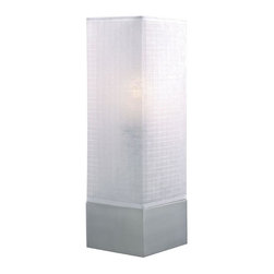 Lite Source - Soho Accent Table Lamp in Polished Steel w White Fabric Shade - Incandescent bulb not included. Bulb watt: 60W. Bulb voltage: 120. Shade dimension: 5 in. L x 5 in. W x 12 in. H. Lamp dimension: 5 in. W x 15 in. H (3.8 lbs.). Product Installation Instructions