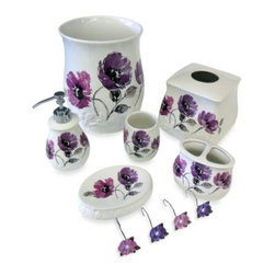 Saturday Knight Ltd. - Floral Waltz Bath Waste Basket - Beautiful shades of lavender and pink adorn the lively flowers on this embossed ceramic bath collection, bringing a romantic feel to any bathroom. Waste basket measures 8?x9D x 8?x9D x 9?x9D. Pieces sold separately.