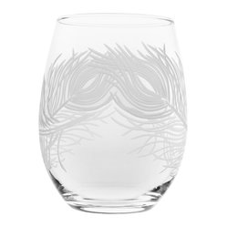 Rolf Glass - Peacock Red Wine Tumbler 21oz, Set of 4 - Whether you're serving a robust Cabernet or a lighter Beaujolais , you don't need fancy wine glasses. Turn to these tumblers, just right to accompany a dinner al fresco. A lush swirl of peacock feathers is etched round the glass.