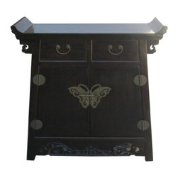 Golden Lotus - Chinese Altar Console Table w Point Edge & Butterfly Hardware - This is an altar side table with point edge top, butterfly shape hardware and relief see-through carving at the bottom. It is a clean accent piece at the entry or little corner of the room.