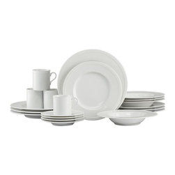 Staccato 20-Piece Dinnerware Set - Inspired by the decorative influences of early 1900s Vienna, this simply elegant white porcelain dinnerware features a raised dot pattern around the rim. Excellent quality workmanship makes this porcelain dinnerware a great value.