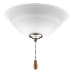 Progress Lighting - Progress Lighting P2645-09 Torino Three-Light Brushed Nickel Ceiling Fan Light W - Two-light fan light kit from the Torino Collection that captures a white etched glass bowl featuring a unique pattern. Corresponding pull chain features Chrome finish with a light maple fob. Universal style for use with fans that accept an accessory light comes with quick-connect wiring.