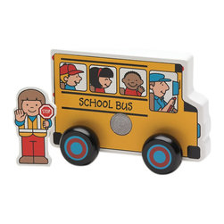 The Original Toy Company - The Original Toy Company Kids Children Play School Bus Plus Display of 6 - This life like School Bus has removable Crossing Guard figure that can be velcroed to the side of the Bus. Easy grip with moveable wheels. Made of solid hardwood construction. These School Buses are sold in a color counter display with 6 Buses contained.