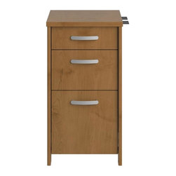 Bush Business - Bush Envoy 3-Drawer Pedestal in Natural Cherr - Full extension file drawer accommodates letter and legal sized files. Two 0.75 in. extension box drawers hold miscellaneous supplies. Smooth ball-bearing drawer slides. Thermally-fused laminate top surface for added durability. Grooved edge banding resists dents. Wire management grommets with cable covers. Warranty: 6 years. Made from furniture grade particle board. Minimal assembly required. 15.98 in. W x 20 in. D x 30.2 in. H (66 lbs.). Installation GuideProfessional-grade Envoy offers a contemporary flair for today's office. With the highly configurable Envoy collection, you can start with one desk, but still have freedom to expand easily and efficiently as your needs change.