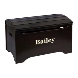Little Colorado - Little Colorado Solid Wood Toy Storage Chest with Personalization - Espresso Fin - Shop for Childrens Toy Boxes and Storage from Hayneedle.com! It's not too early for a bit of elegance in their room so don't overlook the Little Colorado Solid Wood Toy Storage Chest with Personalization - Espresso Finish. With a 37 lb. body of solid hardwood and an arch top with an espresso finish the face of this chest can be personalized with your child's name in your choice of black blue green pink purple red or white text in vinyl letters. Dimensions: 29L x 19W x 18H inches. Little Colorado is a Green CompanyAll finishes are water-based low-VOC made by Sherwin Williams and other American manufacturers. Wood raw materials come from environmentally responsible suppliers. MDF used is manufactured by Plum Creek and is certified green CARB-compliant and low-formaldehyde. All packing insulation is 100% post-consumer recycled. All shipping cartons are either 100% post-consumer recycled or are made of recycled cardboard. About Little ColoradoBegun in 1987 Little Colorado Inc. creates solid wood hand-crafted children's furniture. It's a family-owned business that takes pride in building products that are classic stylish and an excellent value. All Little Colorado products are proudly made in the U.S.A. with lead-free paints and materials. With a look that's very expensive but a price that is not Little Colorado products bring quality and affordability to your little one's room.
