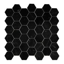 "Glazed Porcelain 2"" Hexagon Mosaics - Black Semi-Matte - Sold per Piece - .92 Square feet per sheet"